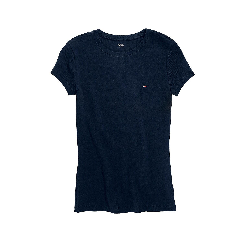 美國百分百【Tommy Hilfiger】T恤 TH 女 圓領 T-shirt 短袖 LOGO 深藍 素面 XS S M號 F055