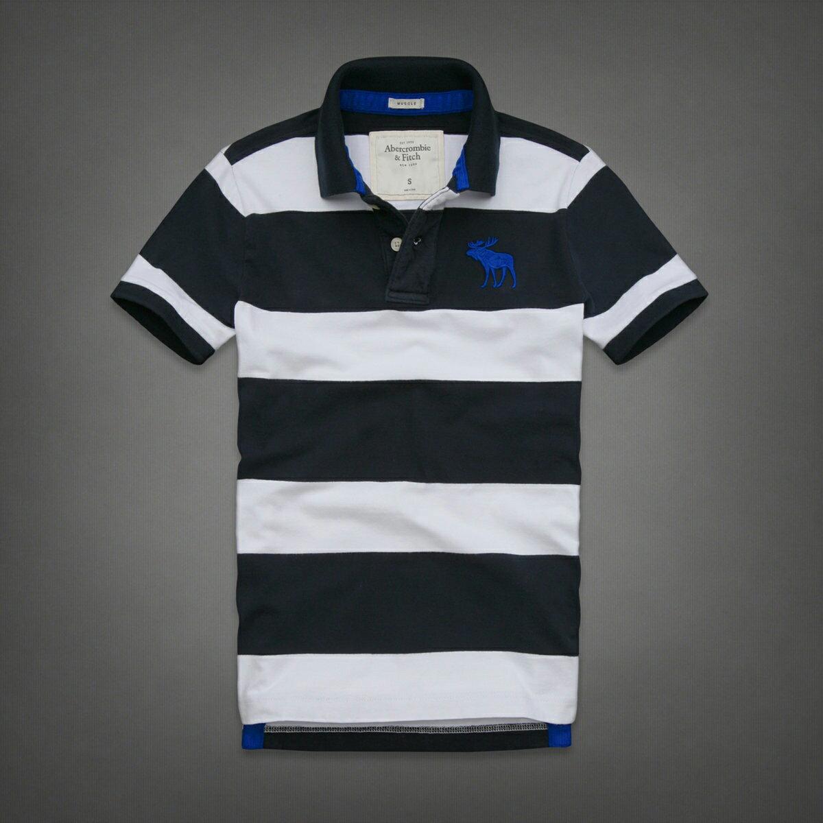 美國百分百【Abercrombie & Fitch】Polo衫 AF 短袖 上衣 大麋鹿 深藍 白 棉 L 男 F127