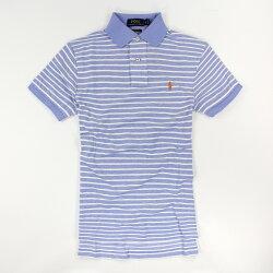 美國百分百【Ralph Lauren】Polo衫 RL 短袖 Polo 小馬 水藍 白色 條紋 男 XS號 F130