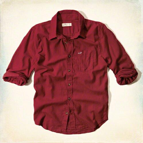 美國百分百【全新真品】Hollister Co. 襯衫 HCO 長袖 上衣 海鷗 深紅 素面 口袋 男 M號 F181