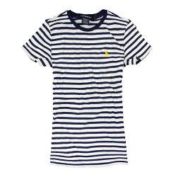美國百分百【Ralph Lauren】T恤 RL 女衣 Polo 短袖 圓領 深藍 條紋 T-shirt 上衣 S M號 F188