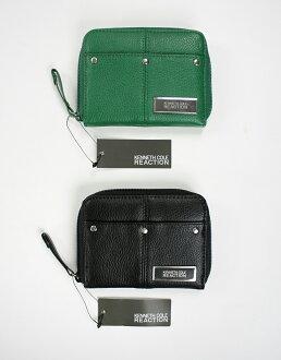 美國百分百【全新真品】Kenneth Cole KC 女生 真皮 短夾 鑰匙包 零錢包 拉鍊 黑色 綠色B435