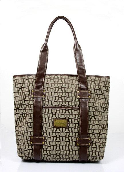 美國百分百【全新真品】Tommy Hilfiger TH 女生 肩背包 手提包 大方包 咖啡色 logo款