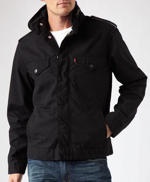美國百分百【全新真品】Levis 雙頭馬車 立領夾克 男生 棉質 風衣外套 牛仔感 黑色 經典款