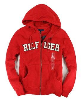 美國百分百【全新真品】Tommy Hilfiger 經典不敗 連帽 拉鍊 外套 帽T 紅色 男生 TH S M XL