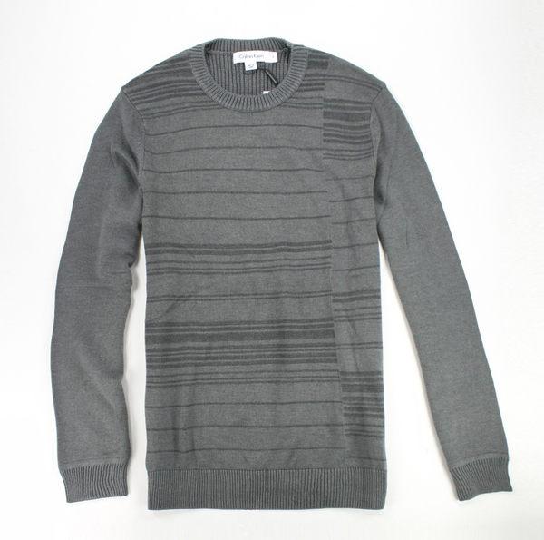 美國百分百【全新真品】Calvin Klein CK男 圓領 針織 長袖 毛衣 T恤 條紋 線衫 灰 造型 免運S號