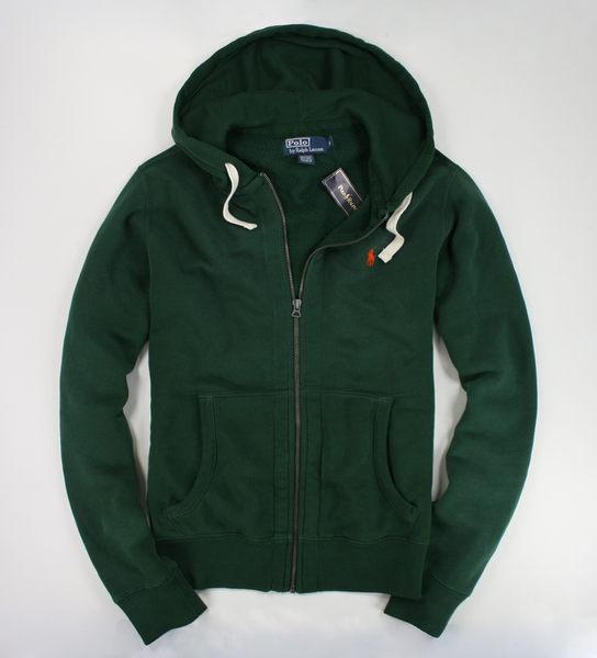 美國百分百【全新真品】Ralph Lauren RL Polo 男款 連帽外套 棉質夾克 白抽繩 帽T 綠色 S M XL B034