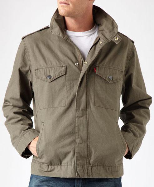 美國百分百【全新真品】Levis 男款 立領 夾克 厚 外套 牛仔風 橄欖綠 外衣 帽 S M 超取免運