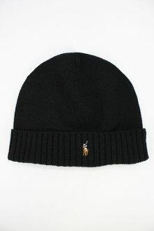 美國百分百【全新真品】Ralph Lauren RL 美利諾羊毛 毛帽 男帽 毛線帽 針織帽 彩馬 黑色 B351