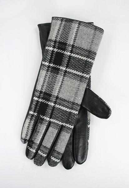 美國百分百【全新真品】Clarks 時尚精品 黑灰 wool 羊毛 格紋 皮革 手套 長手套 L號 超取