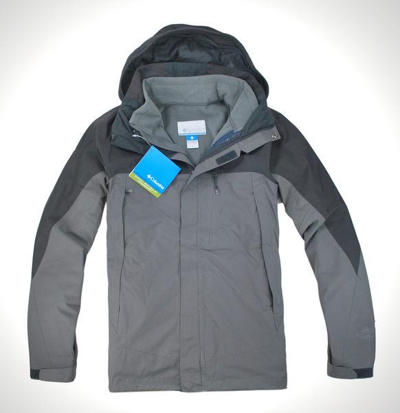 美國百分百【全新真品】Columbia 哥倫比亞 男 黑灰 連帽外套 夾克 3in1 2way 抗寒 鈦金 免運 M