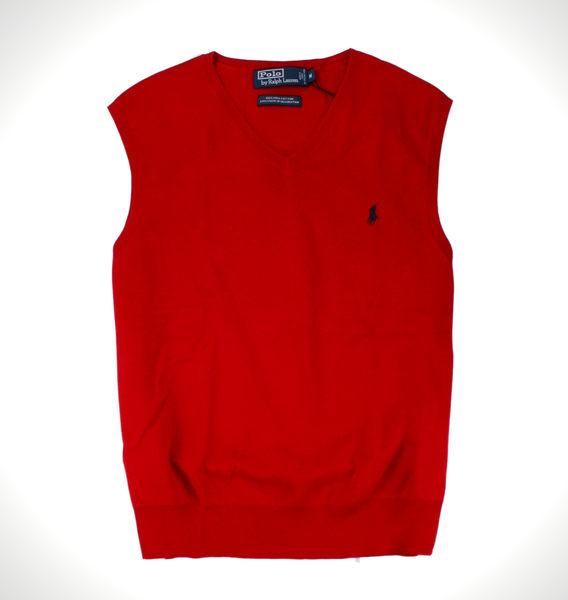 美國百分百【全新真品】Ralph Lauren RL polo 男 針織 背心 百搭 棉質 上衣 正紅 藍馬 免運 M L號