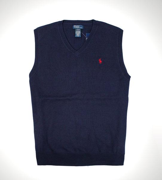 美國百分百【全新真品】Ralph Lauren RL polo 男款 針織 背心 百搭 棉質 上衣 深藍色 S號 免運