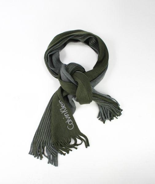 美國百分百【全新真品】Calvin Klein CK 綠灰 條紋 簡約 圍巾 男女 百搭 送禮 流蘇針織 超取