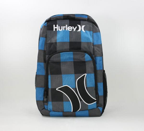 美國百分百【全新真品】Hurley 寶藍 格紋 後背包 雙肩 大包 男女 上課 運動 滑板 衝浪 免運 A297