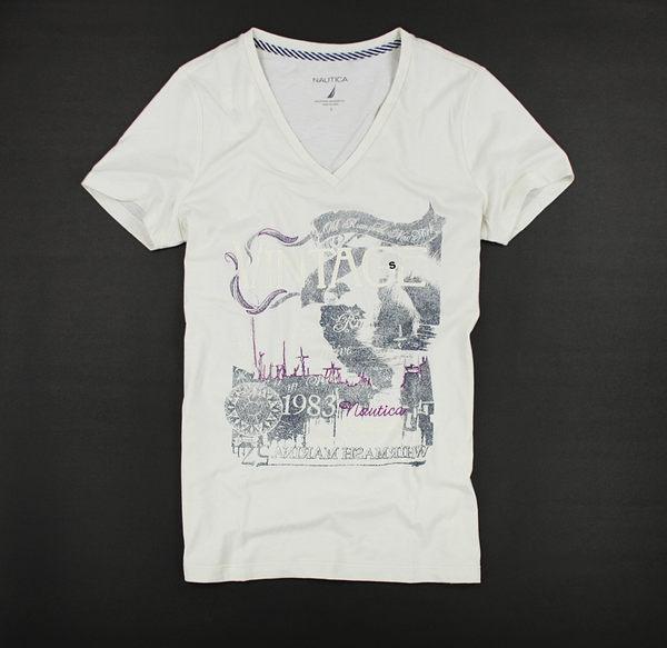 美國百分百【全新真品】nautica 帆船牌 女生 春 夏季 薄 V領 短T T恤 美式風格 深藍米白 美國