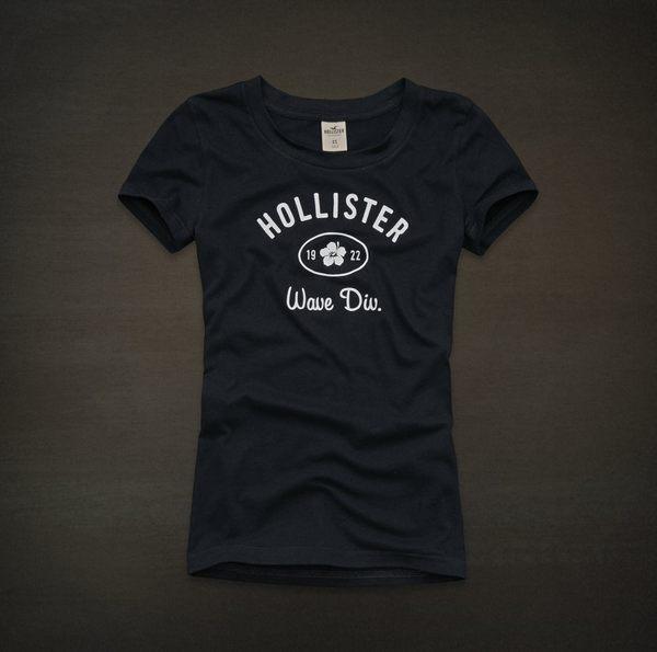 美國百分百【全新真品】Hollister Co HCO 扶桑花 圖案 女T 短T 圓領 T恤 深藍色 S M號
