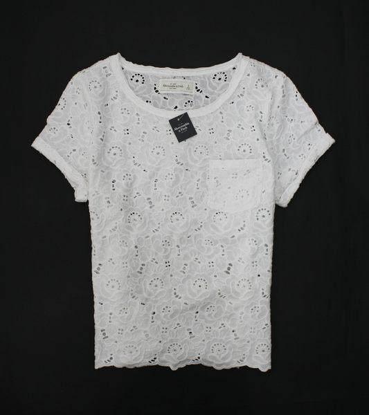 美國百分百【全新真品】Abercrombie & Fitch AF 麋鹿 女 白 蕾絲 短袖 S號 罩衫 上衣 外衣 超取