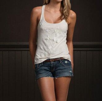 美國百分百【全新真品】Hollister Co 女款 亮片 紗 花朵 裝飾 圓領 無袖 背心 米白色 S號 超取