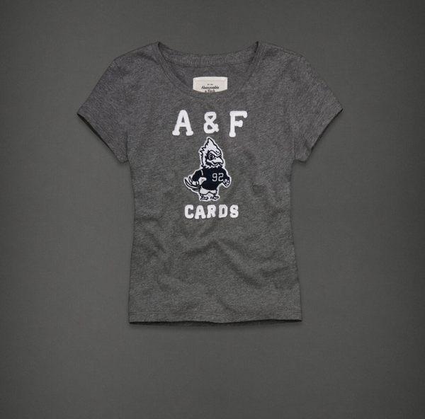 美國百分百~ ~Abercrombie  Fitch AF 短寬版 動物貼布圖案 女T恤