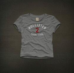 美國百分百【全新真品】Hollister Co 可愛 短版 造型 女生 T恤 數字T 灰色 S 號 現貨