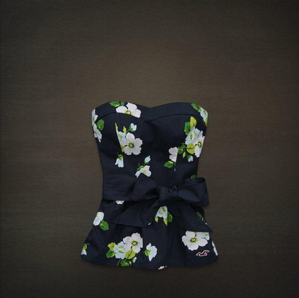 美國百分百【全新真品】Hollister Co 女裝 無肩 禮服 上衣 洋裝裙 印花圖案 深藍 XS號 HCO
