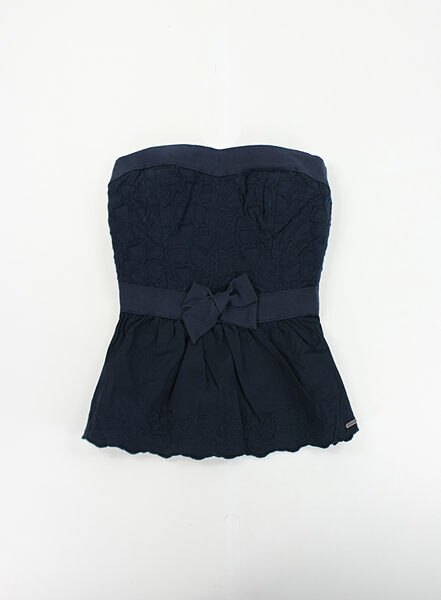 美國百分百【全新真品】Hollister Co 女裝 無肩 平口 禮服 繡花 上衣 洋裝裙 深藍 XS號 HCO