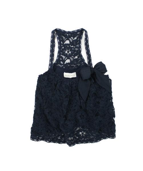 美國百分百【全新真品】Abercrombie&Fitch A&F 女款 可愛 繡花 鏤空 蕾絲 背心裙 深藍 S M號