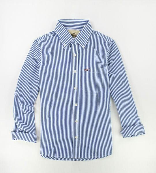 美國百分百【全新真品】Hollister Co. HCO 男 海鷗 藍色 直條紋 長袖 S L號 襯衫 上衣 外衣 貨付