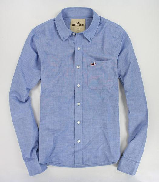 美國百分百【全新真品】Hollister Co HCO 男生 長袖襯衫 上衣 薄款 紋理質感 藍色 S L號