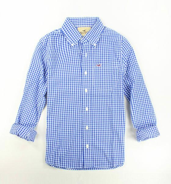 美國百分百【全新真品】Hollister Co. HCO 男 海鷗 藍色 格紋 長袖 S M L號 襯衫 上衣 外衣 超取