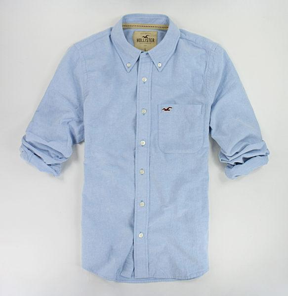 美國百分百【全新真品】Hollister Co HCO 海鷗 牛津感 厚棉質 藍色 男衣 長袖襯衫 素面 M L號