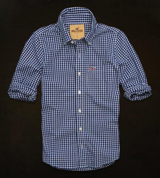 美國百分百【全新真品】Hollister Co. HCO 男 海鷗 藍色 格紋 長袖 S號 襯衫 上衣 外衣 貨付