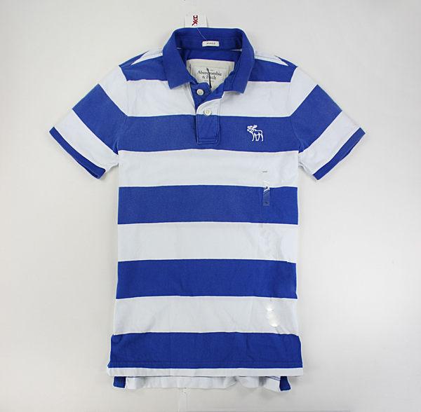 美國百分百【全新真品】Abercrombie&Fitch AF A&F 寬條紋 無網眼 有領 短袖 polo衫 寶藍白 M號