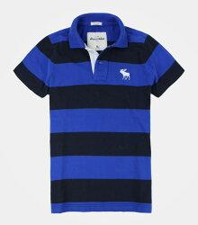 美國百分百【全新真品】Abercrombie & Fitch AF 麋鹿 男女 Kids 寶藍 黑 條紋 a&f 短袖 Polo衫 S號
