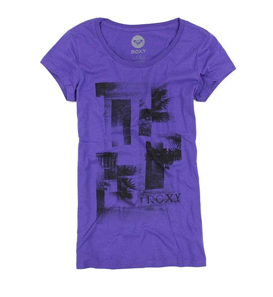 美國百分百【全新真品】ROXY 女生 長版T恤 顯瘦款 浪漫紫 修身短T 海灘 休閒 衝浪潮牌 L號