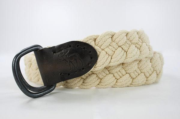 美國百分百【全新真品】Abercrombie & Fitch AF 麋鹿 男 米白 28 30腰 皮帶 腰帶 編織 皮革 貨付
