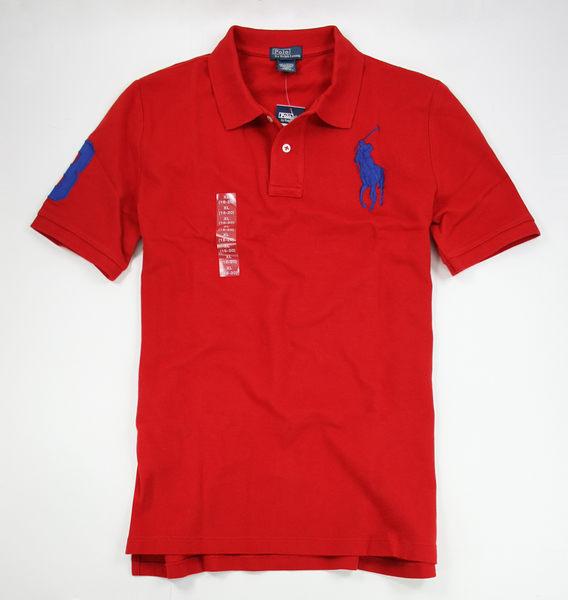 美國百分百【全新真品】Ralph Lauren RL 男款 大馬 POLO衫 立領上衣 短袖 XS 號 紅色 板橋 面交