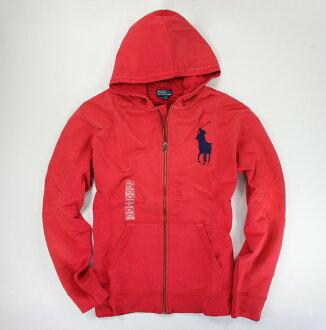 美國百分百【全新真品】Ralph Lauren Polo 男 大馬 刷色 棉質 連帽 外套 帽T 紅色 S號 RL A015