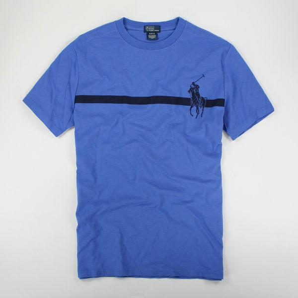 美國百分百【全新真品】Ralph Lauren 男款 藍色 短袖 上衣 T恤 大馬logo S RL POLO 超取 y