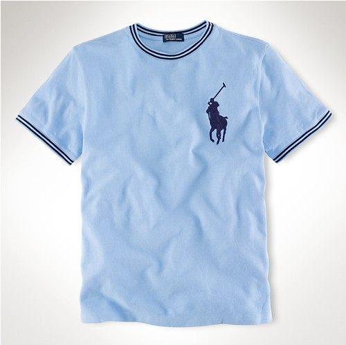 美國百分百【全新真品】Ralph Lauren RL 網眼 大馬 休閒 T恤 T-shirt 水藍 polo 男 短T 特價 XS號