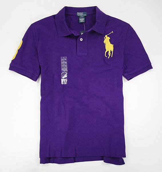 美國百分百【全新真品】Ralph Lauren RL 男款 POLO衫 立領上衣 短袖 S號 紫色 黃色大馬 面交