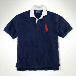 美國百分百【全新真品】Ralph Lauren RL Stripe Rugby 特色版 白領 短袖 Polo衫 深藍 XS S M L XL