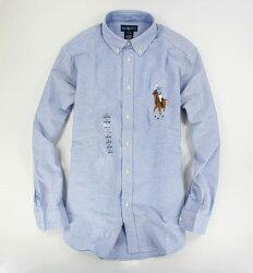 美國百分百【全新真品】Ralph Lauren 彩馬 大馬 牛津布 男款 長袖 襯衫 藍色 XS S號 RL 上衣 B017