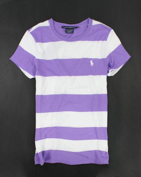 美國百分百【全新真品】Ralph Lauren 女生 短袖 T-shirt T恤 上衣 紫白 條紋 M號 可超取 RL POLO