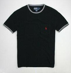 美國百分百【全新真品】Ralph Lauren RL 圓領 網眼 素面 polo 小馬 條紋滾邊 口袋 短T 男 T恤 黑