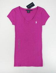 美國百分百【全新真品】Ralph Lauren Sport 女款 長版 T恤 V領 萊卡 彈性 小馬T 短T 紫色 M號 RL