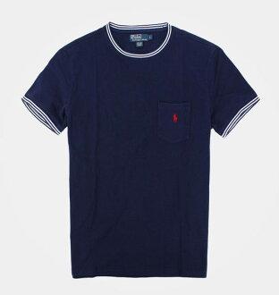 美國百分百【全新真品】Ralph Lauren RL POLO 紅馬 短袖 T恤 T-shirt Tee 深藍 網眼 口袋 超取 L號