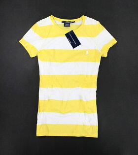 美國百分百【全新真品】Ralph Lauren 女生 短袖 T-shirt T恤 上衣 黃白 條紋 M號 可超取 RL POLO