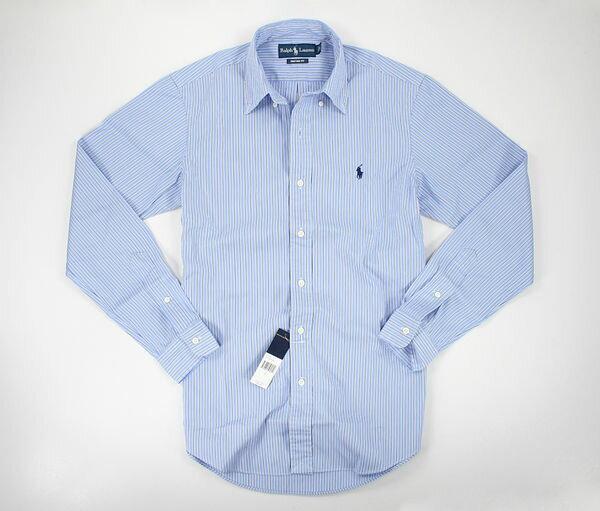 美國百分百【全新真品】Ralph Lauren RL 男衣 淺藍 質感條紋 上班 長袖 襯衫 S M L 合身版 POLO